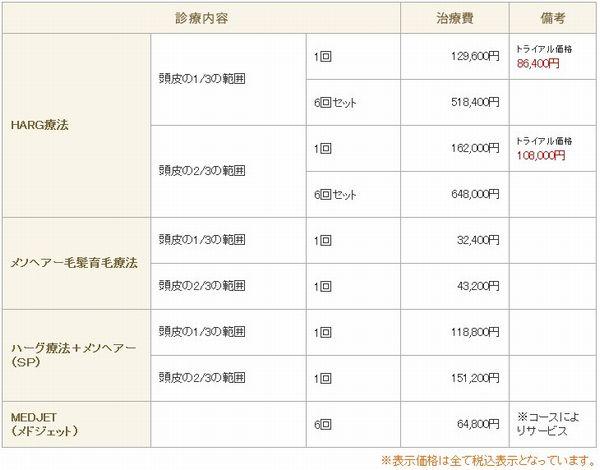新宿中央クリニックの料金画像